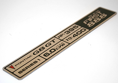 G8 engine build plaque