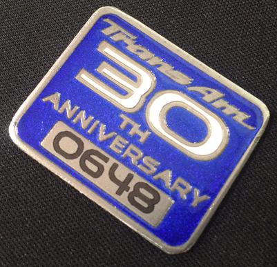 30th Anniversary Trans Am numbered console plaque