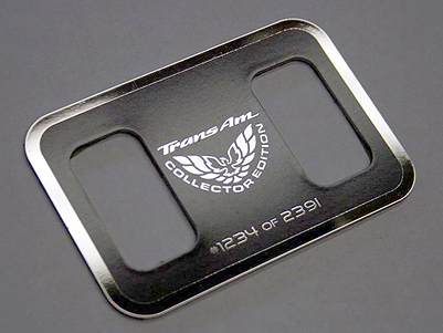 Firebird TransAm TCS, convertible and shifter plaque