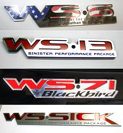 custom firebird trans am formula ws- emblems
